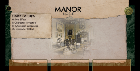 The Manor, a stage one heist worth eight coins and with three defense slots.